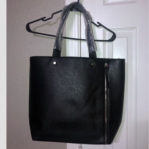 Neiman Marcus Faux Leather Black Tote w/Gold zip